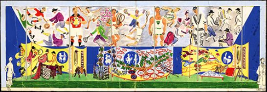 Design for a mural for the Sports area in the People at Play section, Festival of Britain Land Travelling Exhibition, 1951.