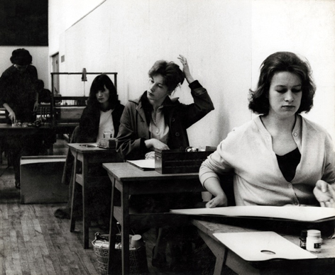 Female students at desks