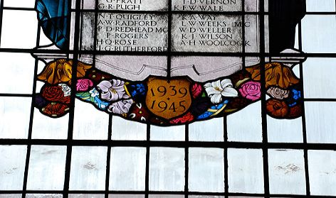 stained glass window, Brighton, Hove & Sussex Grammar School hall (now BHASVIC).