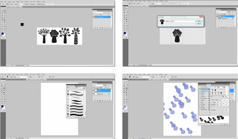Figure 2: Screen shot sequence from a Photoshop screencast to create a bespoke brush