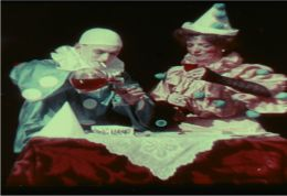 Frame enlargement from G. A. Smith�s Kinemacolor film, Two Clowns (1906)