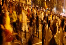 Picture of crowd scene during political activity in Spain