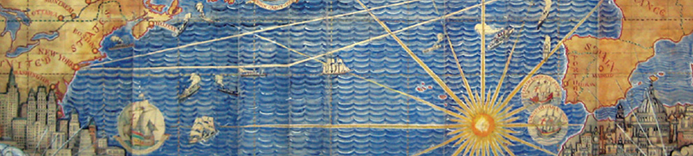 Detail from a world map by Macdonald Gill, from a project researched and curated by Dr Philippa Lyon for the University of Brighton