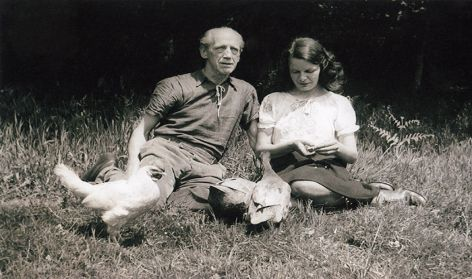 Max and Priscilla in the garden of the cottage,