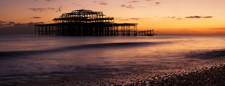 Hove's West Pier with South-facing sunset sky