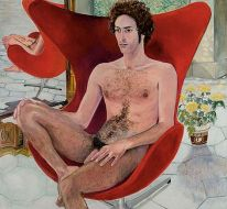Paul Rosano in Jacobson Chair, 1971. With kind permission of I-20 Gallery, New York.
