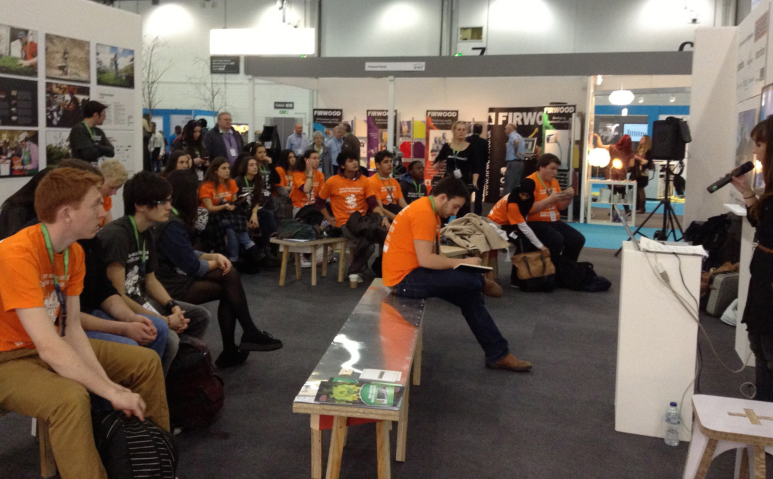 Seating made for the WasteZone at Ecobuild 2013 by students at the University of Brighton Faculty of Arts.