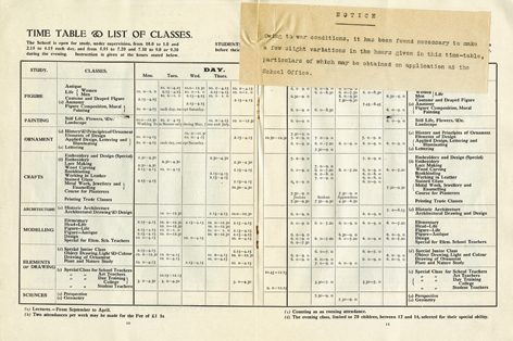 Wartime Weekly Timetable, 1916