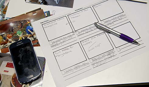 Storyboard and mobile device