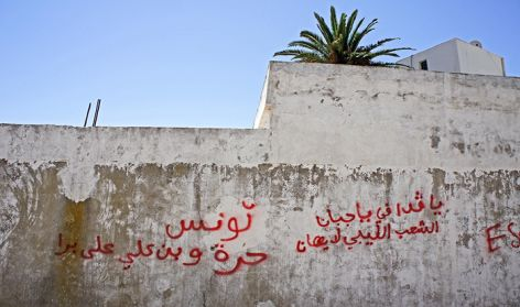 Tunisia after the revolution, graffiti 'Tunisia is free, Ben Ali is out', Tunis 2011