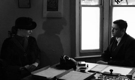 Alex Childs as Miss Wonderly and Alan Gilchrisst as Sam Spade in 'A Stranger Here'