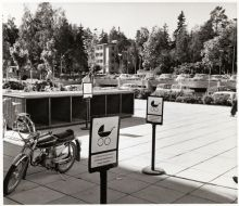 Parking places for prams and dogs in Tapiola, Finland