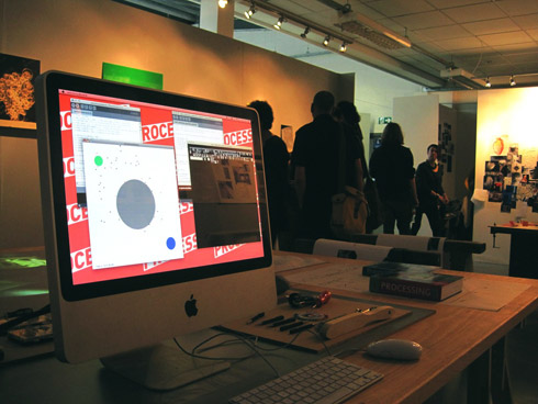 Figure 13. Exhibition view – monitor shows interactive animation created in Processing to mimic ant movement. Photo: Adam Cluley