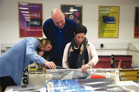 Viewing posters, Tara Hanrahan, Lawrence Zeegen, University of Brighton Design Archives