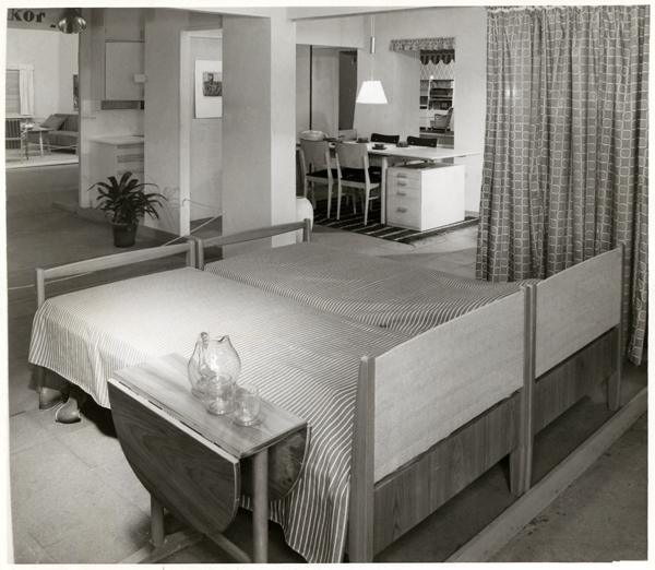 Interior From An Exhibition With Beds Designed By Olof Ottelin For OY Stockmann AB