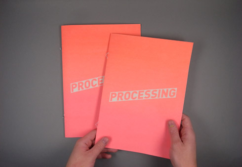 Figure 14a . 'Processing', publication with screen-printed cover designed by third year BA (Hons.) Graphics student Arthur Carey. Photos: Arthur Carey