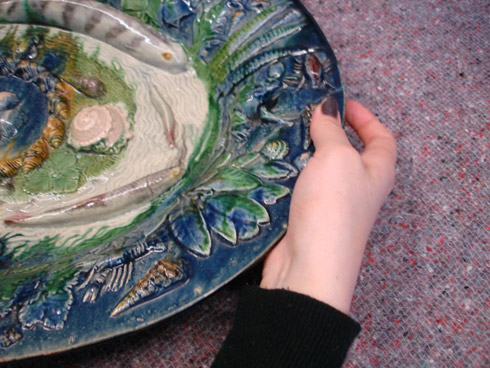 Figure 4: Ceramics Handling Session V&A museum 2011: the Palissy Dish