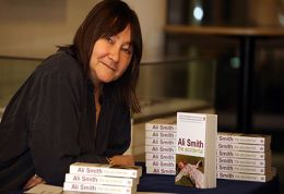 Author Ali Smith with her book The Accidental