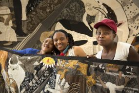 Zoleka, Veronica and Nombulelo with Keishkamma Guernica 2017, photograph by Joe Hague