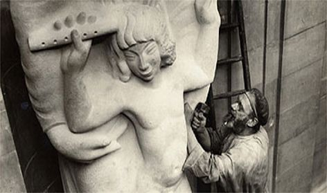 Eric Gill working on Prospero and Ariel at BBC Broadcasting House in 1931