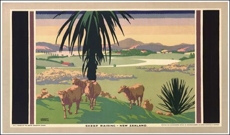 Empire Marketing Board poster 'Sheep raising ⎯ New Zealand', by Gregory Brown, about 1926 National Archives of the United Kingdom (CO 956/528).