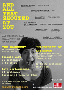 And all that shouted at you. MA Performance and Visual Art 2012