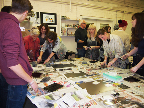University of Brighton Faculty of Arts Fine Art Printmaking staff and students run workshops for local young people