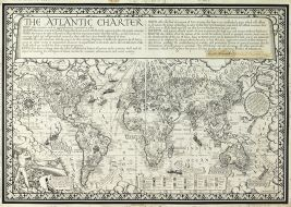 Original pen-and-ink artwork for Atlantic Charter map,