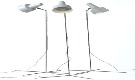 Floor lamps with grey reflectors