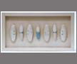 Seven ceramic bottles in frame