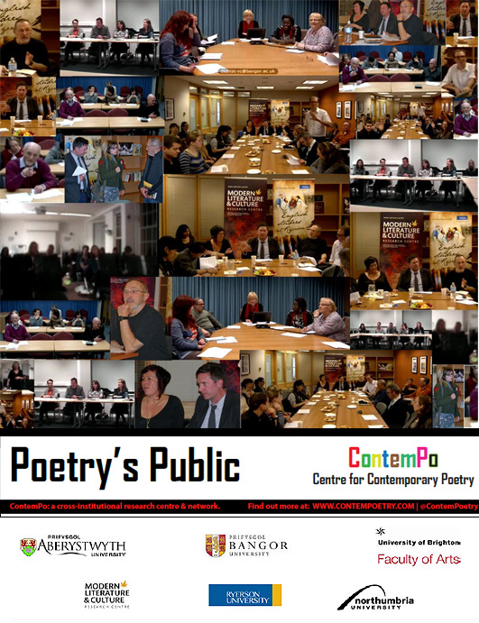 Composite image and logos of the Poetry's Public event 2012