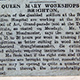 Queenmarys Workshop - Newspaper clipping 17 February