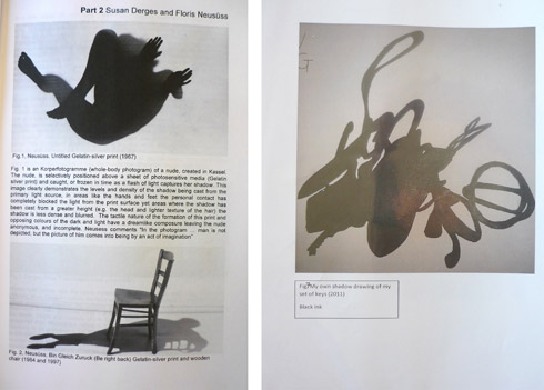 Figure A. Student academic writing on selected shadow artists (History and Theory module) and Student Shadow Drawing of keys (Visual Research module)