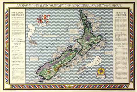 Poster Map of New Zealand, Empire Marketing Board. Max Gill.