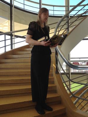 Ellen Southern on the stairs at the De La Warr Pavilion
