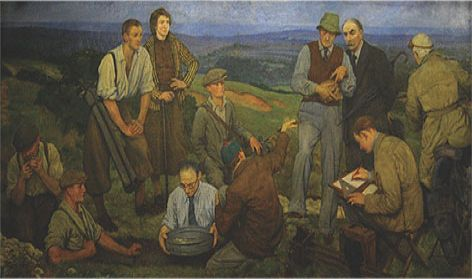 Panel from Brighton, Hove & Sussex Grammar School hall murals (now BHASVIC): 'Hollingbury Camp,