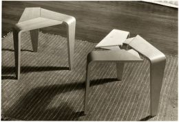 "'Laminated birch stools designed by Marke Niskala, shown at the ""Modern Art in Finland"" Exhibition' (1953). Catalogue number: DCA-30-1-FUR-CH-ST-1. Design Council Archive / University of Brighton Design Archives."