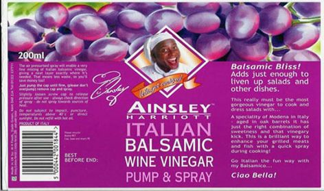 Ainsley Harriott Italian balsamic wine vinegar label,