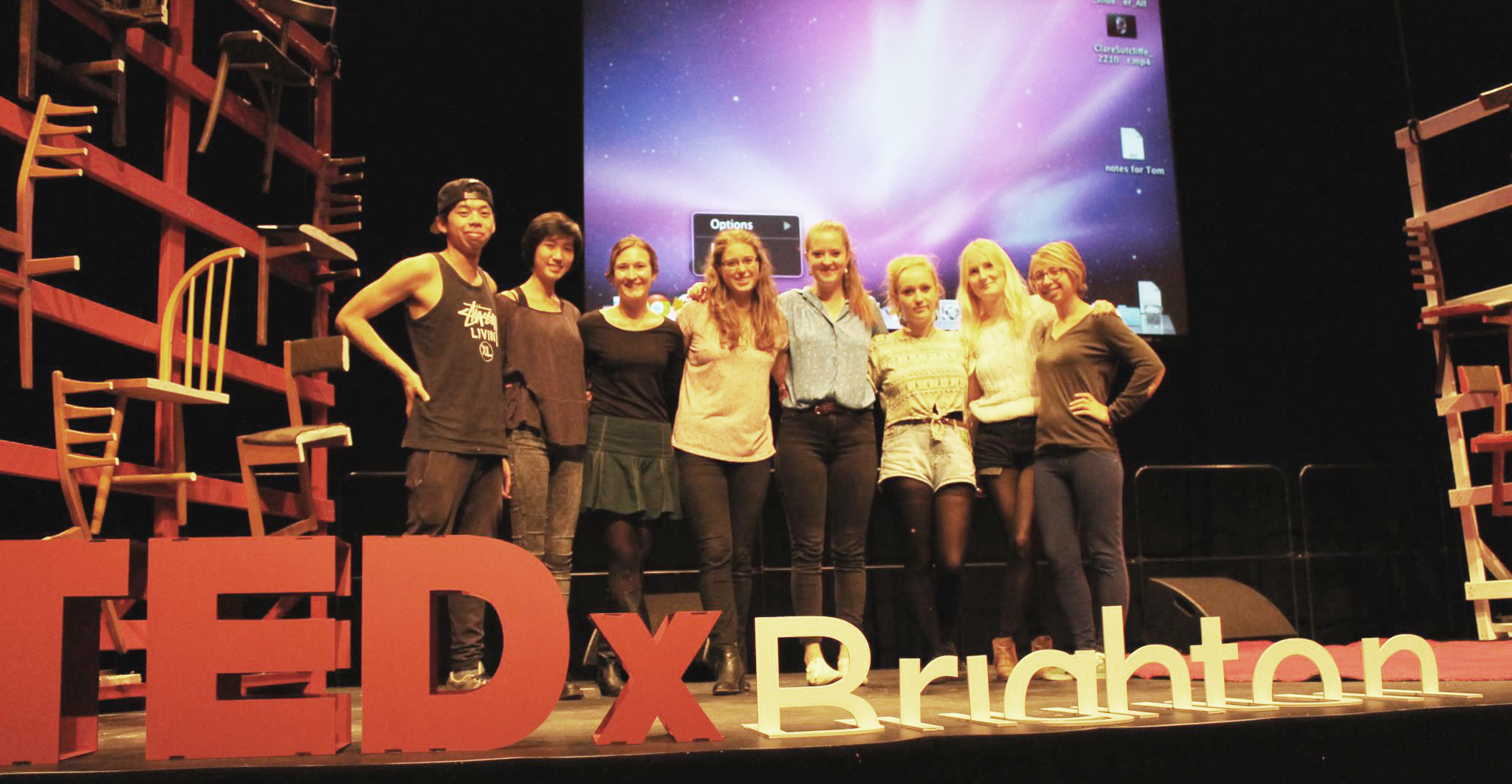 University of Brighton Architecture and Interior Architecture students with the completed TEDx stage design