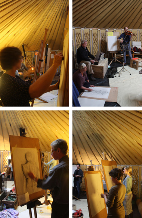 Inside the Yurt, and some life drawing.