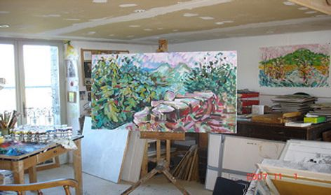 David Chapman studio with easel (150 years of art - Brighton Faculty of Arts)