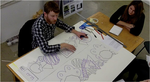 Figure 2: Still from instructional video of live workshop about repeat design for textiles screen-printing.