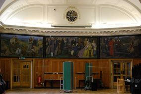Panels from Brighton, Hove & Sussex Grammar School hall murals (now BHASVIC): (left to right) 'Hollingbury Camp,