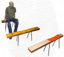 Three tactile benches