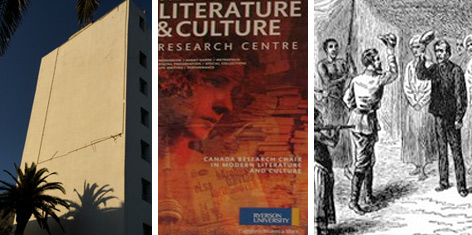 Three images: building in Tunis, Canadian literature poster, Dr Livingstone in Africa: University of Brighton