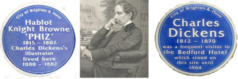 Blue plaques to Charles Dickens and Phiz in Brighton and Hove