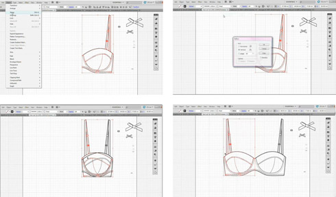 Figure 1: Screen shot sequence from an Illustrator screencast to reflect and copy a bra shape