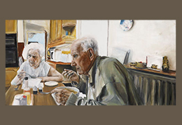 Sophie Williams' portrait of grandparents at lunch table, titled