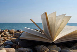 Book on Brighton beach. Photograph by Andy Weekes
