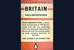 Mass Observation visual in style of penguin book cover
